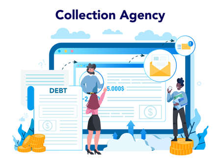 Debt collector online service or platform. Pursuing payment of debt owed by person or businesses company. Website. Vector illustration in cartoon style