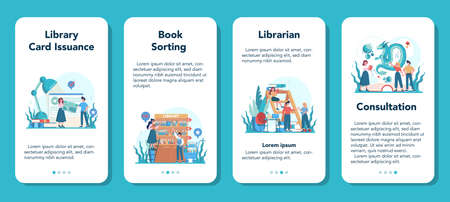 Librarian mobile application banner set. Library staff holding and sorting book. Knowledge and education idea. Llibrary bookshelves guid. Isolated vector illustration