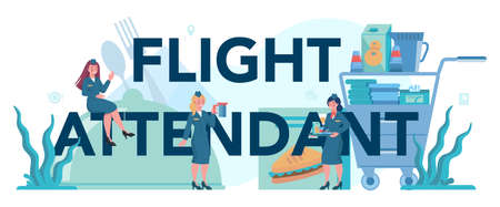 Stewardess typographic header concept. Beautiful female flight attendants help passenger in airplane. Travel by aircraft. Idea of professional occupation and tourism. Isolated flat vector illustration Stock Illustratie