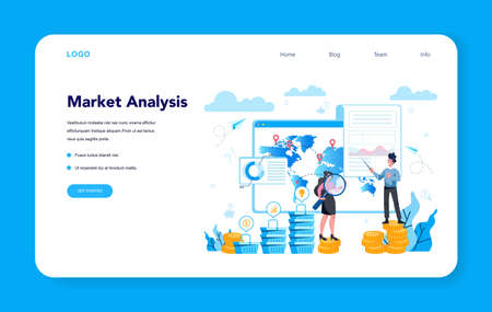 Trendwatcher web banner or landing page. Specialist in tracking the emergence of new business trends. Business strategy and project management. Vector illustration in flat style