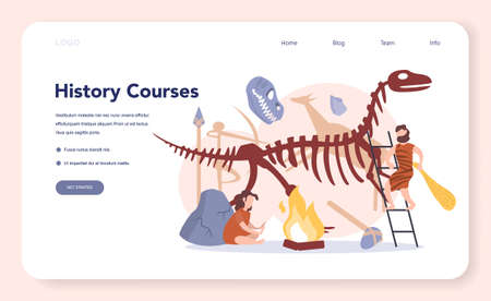 History concept web banner or landing page. History school subject. Idea of science and education. Knowledge of past and ancient. Isolated vector illustration in flat style