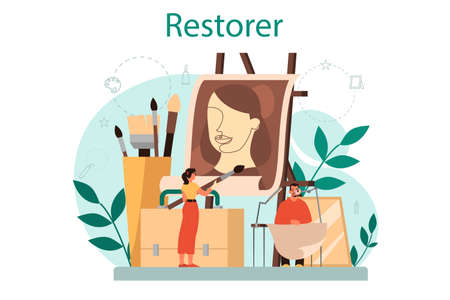 Restorer concept. Artist restores an ancient statue, old painting and furniture. Person carefully repair old art object. Vector illustration in cartoon style