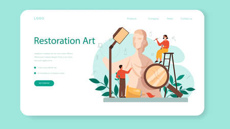 Restorer web banner or landing page. Artist restores an ancient statue, old painting and furniture. Person carefully repair old art object. Vector illustration in cartoon style