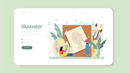 Graphic illustration designer, illustrator web banner or landing page. Artist drawing picture for book and magazines, digital illustration for web sites and advertising. Vector illustration