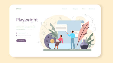 Screenwriter web banner or landing page. Person create a screenplay for movie. Author writing new scenario for cinematography. Hollywood industry. Isolated vector illustration