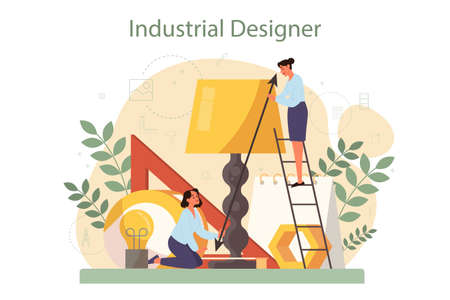 Industrial designer concept. Artist creating modern environment object. Product usability design, manufacture development. Isolated vector illustration Vecteurs