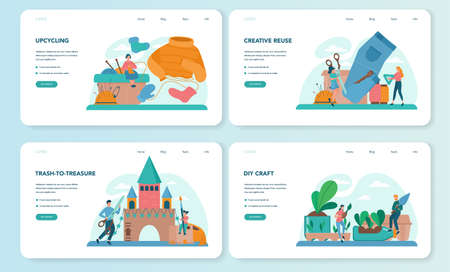 Upcycling web banner or landing page set. Eco tips for reducing waste. Reuse and utilizing trash. Second life for old stuff. Isolated vector illustration Vettoriali
