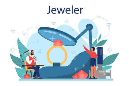 Jeweler concept illustration. Idea of creative people and profession. Jeweler examining faceted diamond in workplace. Person working with precious stones. Vector illustration