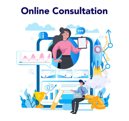 Trendwatcher online service or platform. Consultation. Specialist in tracking the emergence of new business trends. Vector illustration in flat style
