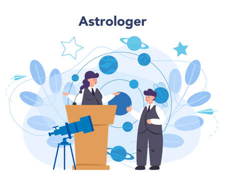 Astronomy and astronomer concept. Professional scientist looking Çizim