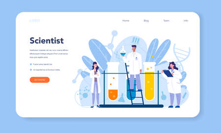 Chemistry science web banner or landing page. Scientific