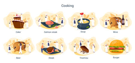 People cooking and preparing food set. Restaurant chef cooking