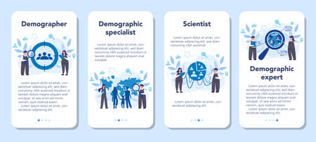 Demographer mobile application banner set. Scientist studying