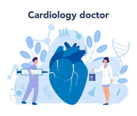 Cardiology concept. Cardiologist listen to heartbeat. Doctor deal Ilustracja