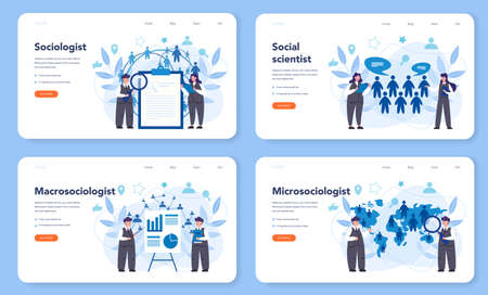 Sociologist web banner or landing page set. Scientist study of society, Stock Illustratie
