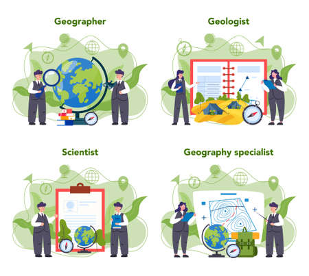 Geography concept set. Studying the lands, features, inhabitants of the Earth. Mapping and environment research. Isolated vector illustration