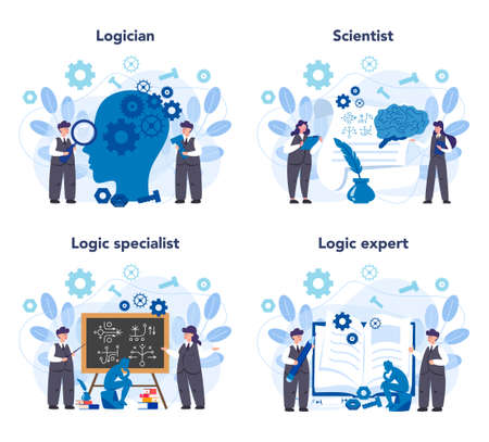 Logician concept set. Scientist systematicly study of the forms