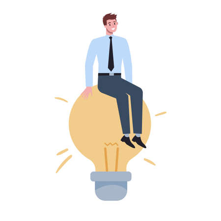 Business character holding a light bulb. Idea concept. Creative mind