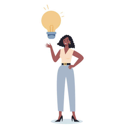 Business character holding a light bulb. Idea concept. Creative mind and brainstorm. Thinking about innovation and find solution. Light bulb as metaphor. Isolated flat vector illustration Vettoriali