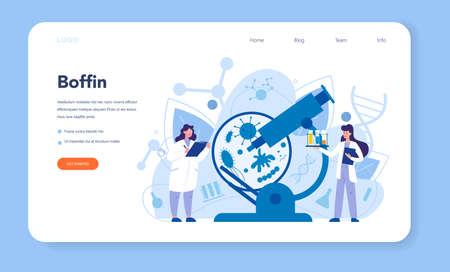 Virologist web banner or landing page. Scientist studies viruses