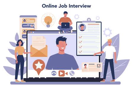 Job interview online service or platform. Idea of employment