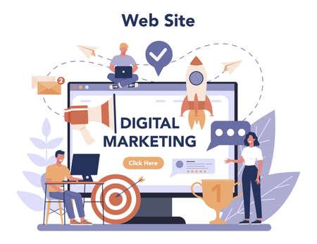 Digital marketing online service or platform. Business promotion,