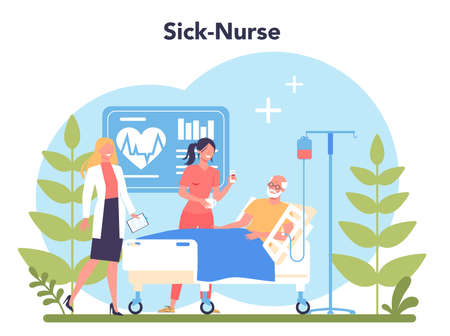 Nurse service concept. Medical occupation, hospital and clinic staff.