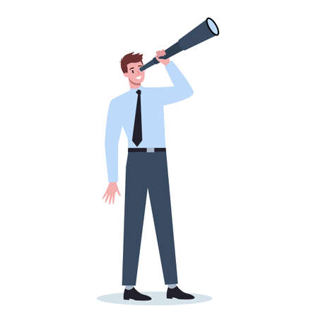Business person in formal office clothes holding a telescope.