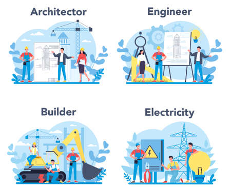 Architecting and building profession set. Construction and engineering