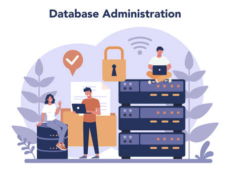Data base administrator concept. Female and male character working