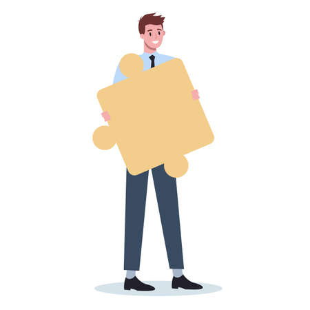 Teamwork concept. Business man holding piece of the puzzle. Worker collaboration, communication and solution. Flat vector illustration