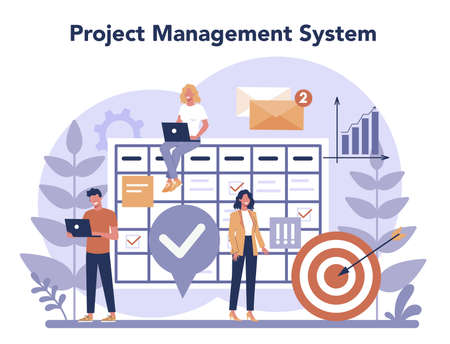 Project management concept. Successful strategy, motivation and leadership. Marketing analysis and development. Vector illustration in cartoon style
