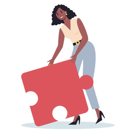 Teamwork concept. Business woman holding piece of the puzzle. Worker collaboration, communication and solution. Flat vector illustration Illusztráció