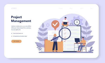 Project management web banner or landing page . Successful strategy, motivation and leadership. Marketing analysis and development. Vector illustration in cartoon style Illusztráció