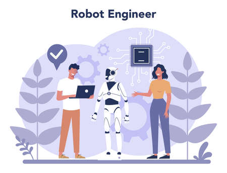 Robotics concept. Robot engineering and programming. Idea of artificial intelligence and futuristic technology. Machine automation. Isolated vector illustration in cartoon style