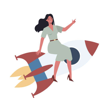 Business character riding a rocket. Startup concept. Business development. Testing and marketing idea. Creative thinking. Isolated flat illustration