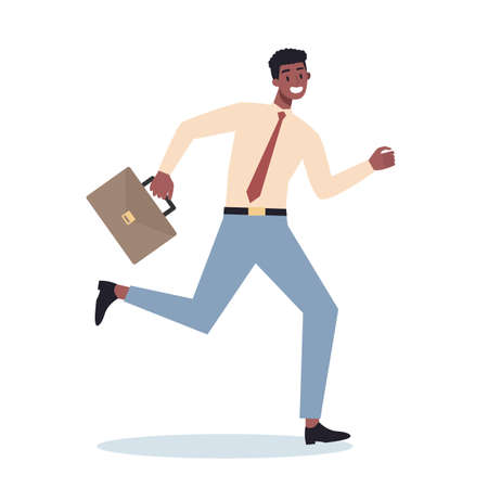 Business character with briefcase running. Business man rushing in a hurry. Happy and successful employee in a suit. Flat vector illustration 일러스트