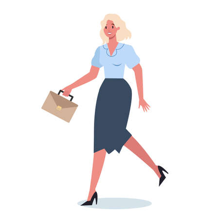 Business character with briefcase running. Business woman rushing i