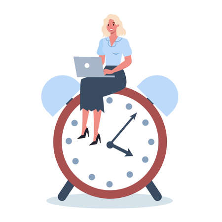 Business character with a clock. Work effectivity and planning.