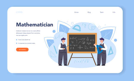Mathematician web banner or landing page. Mathematician seek Illusztráció