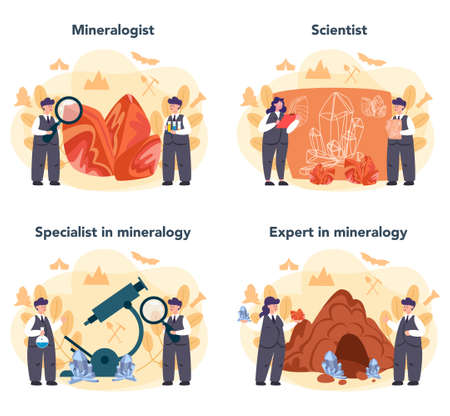 Mineralogist concept set. Professional scientist studying natural stone