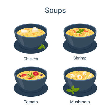 Bowl with hot tasty soup. Collection of soup and ingredients. Ilustração