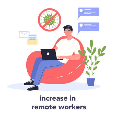 Increasing amount of people working from home. Male character Illusztráció