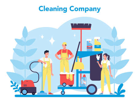 Cleaning service or company. Woman and man doing housework. Stock Illustratie