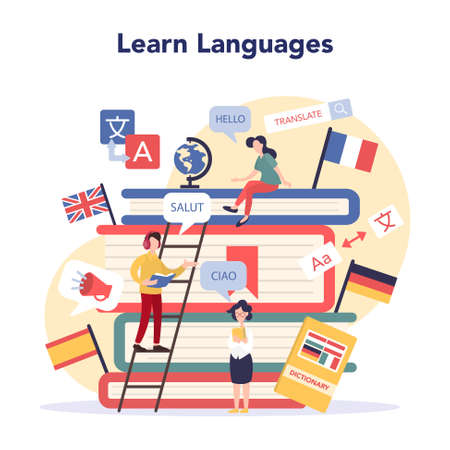 Language learning concept. Study foreign languages with native