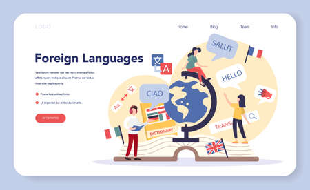 Language learning web banner or landing page. Study foreign