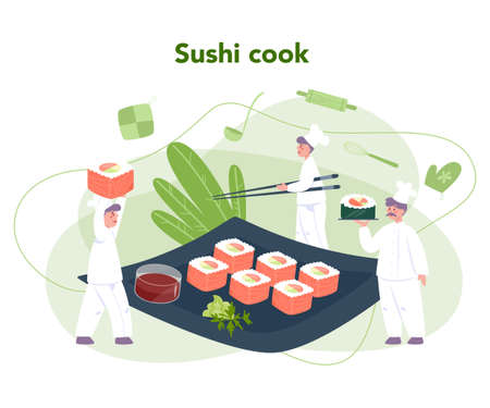Restaurant chef cooking rolls and sushi. Sushi chef in apron Vettoriali