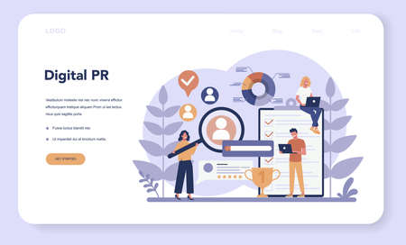 Public relations web banner or landing page. Idea of making Stock Illustratie