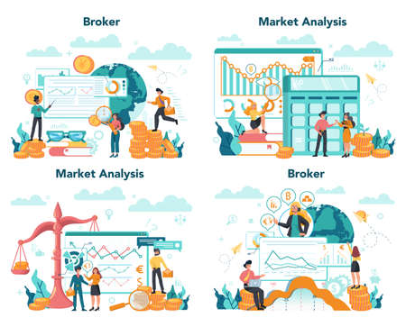 Financial broker set. Income, investment and saving concept. Business Çizim