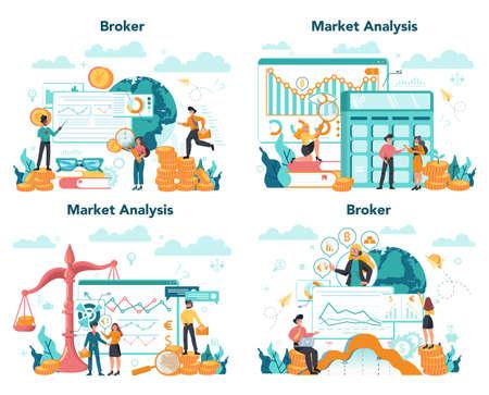 Financial broker set. Income, investment and saving concept. Business Reklamní fotografie - 150457161
